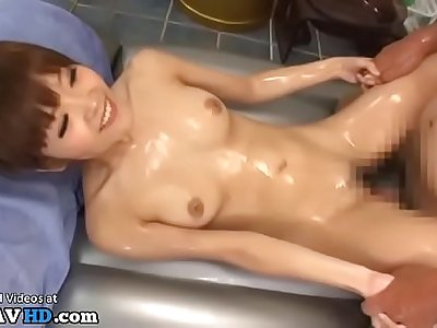 Japanese oil massage with tiny 18yo babe