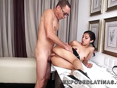 www.EXPOSEDLATINAS.com Betty La Ternurita Amateur Latina Pornstar gets fucked by her step dad on a desk in mexico city